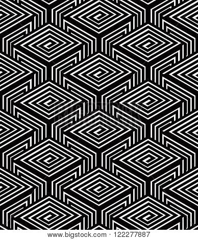 Geometric Seamless Pattern, Endless Black And White Vector Regular Background. Abstract Covering Wit
