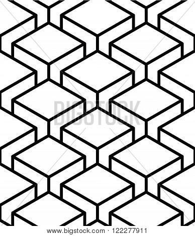 Regular Contrast Endless Pattern With Intertwine Three-dimensional Figures, Continuous Illusory Geom