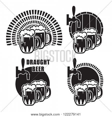 Traditional glass mugs filled with beer & foam, on different backgrounds. Vector format EPS 8, CMYK.