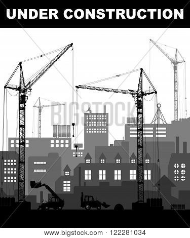"""""""under Construction"""" Concept At Building Site In The City With Detailed Silhouettes Of Construction"""