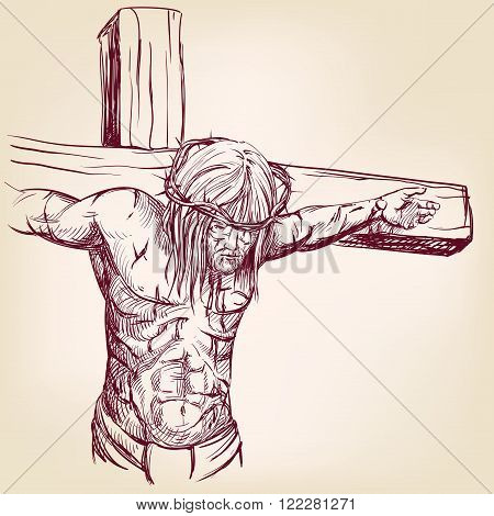 Jesus Christ, the Son of God in a crown of thorns on his head, a symbol of Christianity hand drawn v