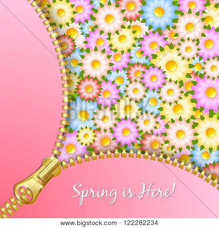 Unzipped zipper with spring floral pattern in the background