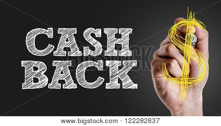 Hand writing the text: Cash Back
