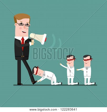 teamwork concept, Angry boss berates his subordinate. Business concept cartoon illustration