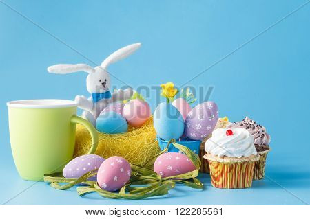 Colorful Decoration Of Kids Birthday Party Table With Easer Eggs And Sweets