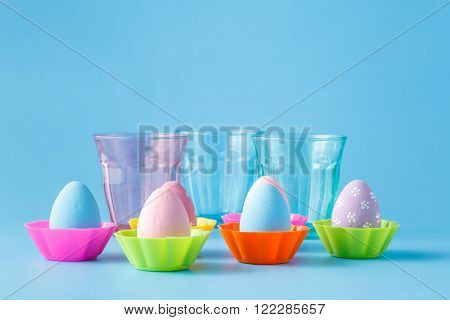 Easer Colored Eggs Stay On Blue Backgrond