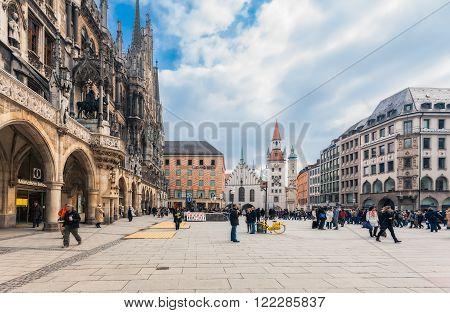 Germany, Munich - MAR 12 : Marienplatz on March 12, 2012 in Munich, Germany.