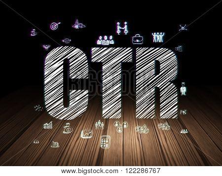 Finance concept: CTR in grunge dark room