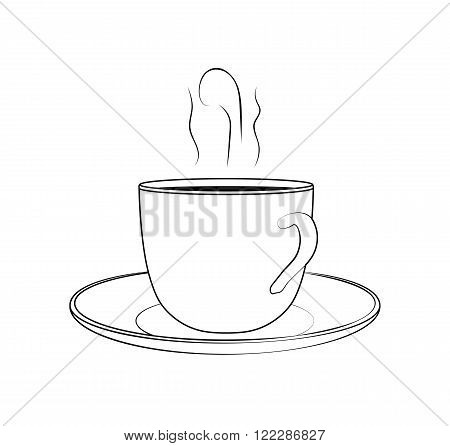Cup of coffee with heat sketch. Vector illustration