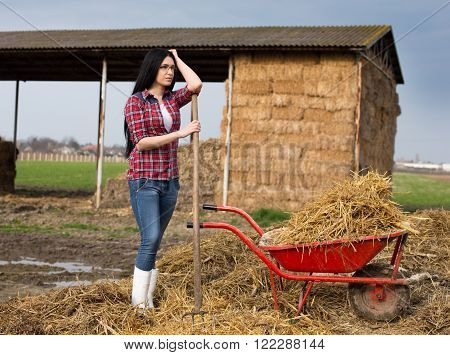 Woman Resting On The Farmland