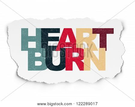 Healthcare concept: Heartburn on Torn Paper background