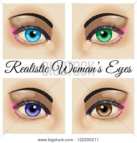 Realistic woman eyes vector. Four beautiful realistic woman eyes - blue green brown and violet. Use for company logos print products page and web decor or other design. Vector illustration.
