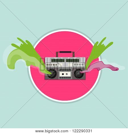old vintage radio with flow of colored waves of emotion from music speakers on red circle, creative vector illustration
