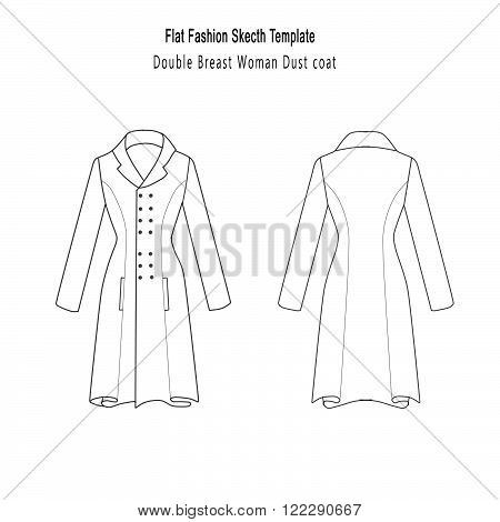 technical and Industrial Flat fashion template -Double Breast Woman Dust Coat