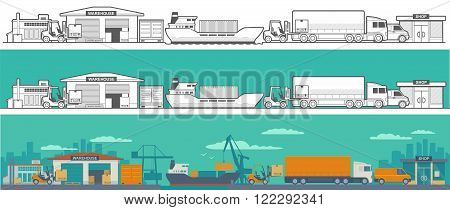 Logistic - warehouse, ship, truck, car. Logistic concept flat banner production process from factory to the shop.  Wide panoramic vector illustration for business, infographic, web, presentations, advertising.