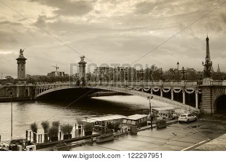 PARIS FRANCE - NOVEMBER 19 2016: A black and white image of the Alexander lll bridge in Paris France.