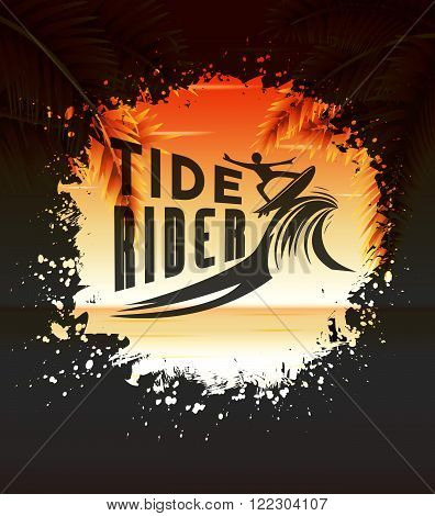 Tide Rider Design Concept for Summer Surfing in a Round Splatter Vector Illustration with Seascape Background