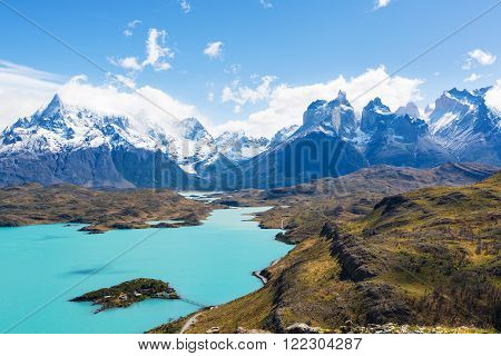 amazing view at cuernos del paine and pehoe lake in torres del paine national park, patagonia, chile