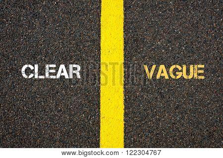 Antonym Concept Of Clear Versus Vague