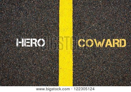 Antonym Concept Of Hero Versus Coward
