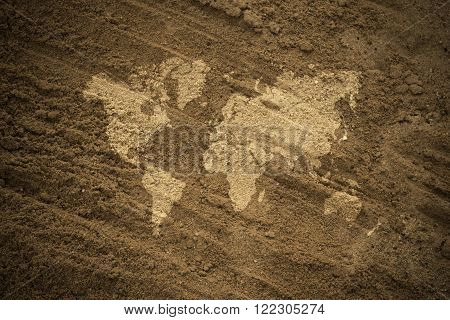 Sand Texture Surface Vintage Style With World Map