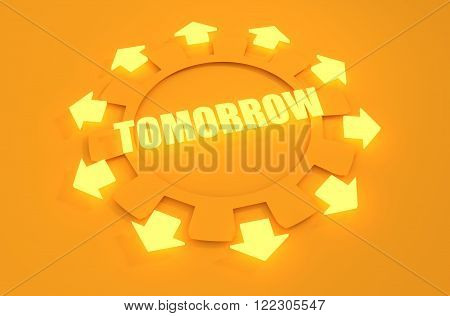 Industry theme relative concept. Arrows withing cog wheel. Tomorrow text