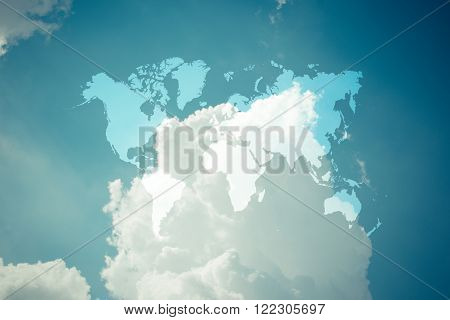 Blue Sky Cloud With World Map , Process In Vintage Style