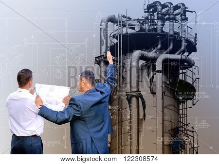 Industrial engineering technology. Manufacturing engineering designing concept background