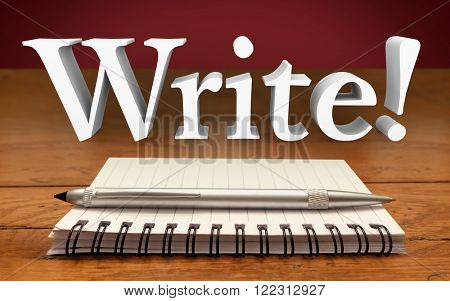 Write Author Reporter Word Notepad Pen Record Information Communicate poster