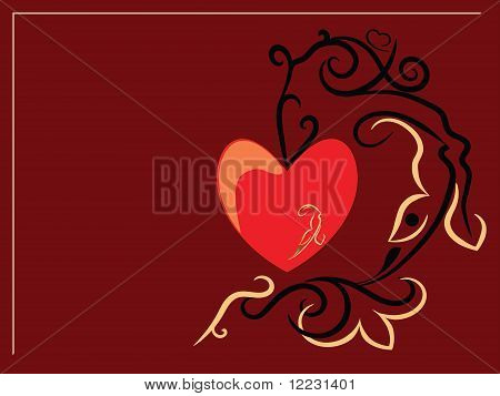 Red Heart On A Brown Background