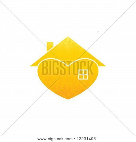 Shabby golden colored house with in the shape of heart with roof and chimney on it and big window isolated on white background. New house concept. House logo template