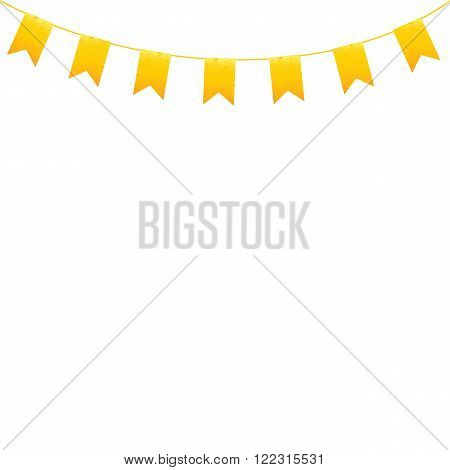 Shabby golden colored flags hanging on orange line isolated on white background. Logo template design element