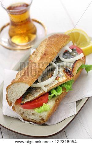 mackerel fish sandwich,balik ekmek,turkish food