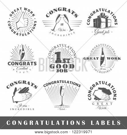 Set of congratulations labels. Elements for design on the congratulations theme. Collection of congratulations symbols: handshake applause champagne. Modern labels of congratulations. Illustration