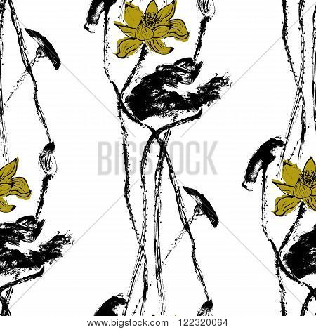 Watercolor lotus seamless Pattern. White background. Stock Vector Illustration