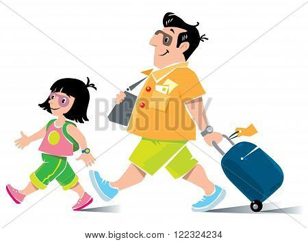 Vector illustration of  funny fast paced man passenger with suitcase, in shorts and sneakers, with litle girl, his daughter, with backpack