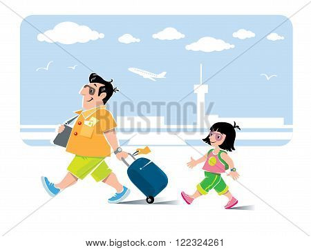 Vector illustration of  funny fast paced man passenger with suitcase, in shorts and sneakers, with litle girl, his daughter, with backpack. On the background of the airport