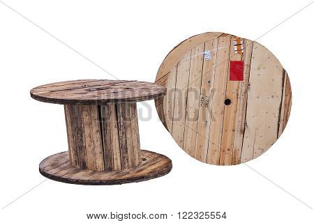 wooden cable reels isolated on white background,