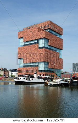 Antwerp, Belgium - May 10, 2015: Museum aan de Stroom (MAS) along the river Scheldt in the Eilandje district of Antwerp, Belgium, on May 10, 2015. Opened in May 2011, is the largest museum in Antwerp.