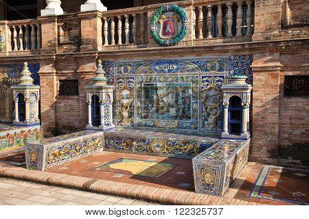 Ceramics Work At Spain Square Plaza de Espana  built in 1928 for the Ibero-American Exposition of 1929