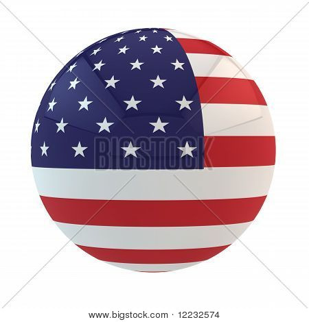 Flag of the USA put on sphere