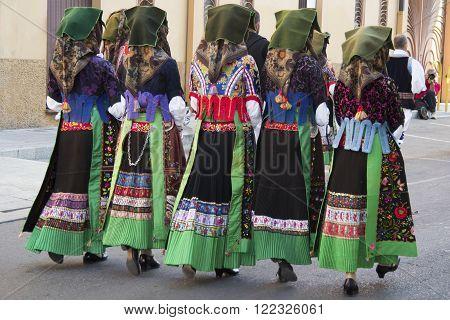 Selargius, Italy - September 9 2012: Old wedding Selargino 2012 - Folk Group pro-loco Samugheo