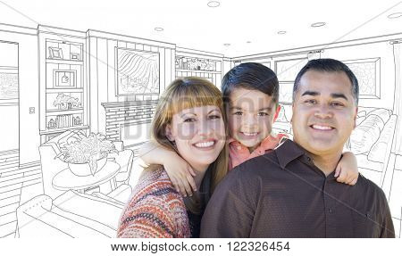 Happy Young Mixed Race Family Over Custom Living Room Drawing On White.