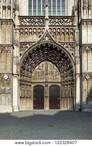 Main portal at the cathedral of Our Lady in Antwerp Belgium