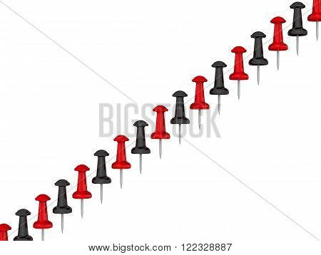 Red and black pushpin located diagonally. Isolated