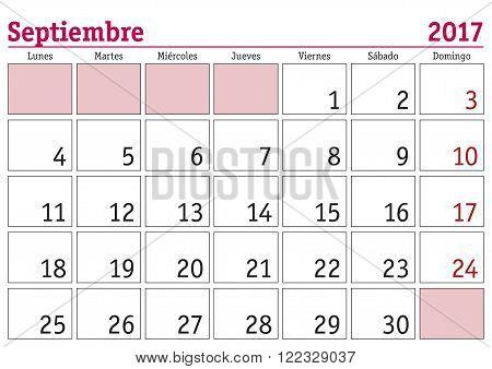 Septiembre 2017 Wall Calendar Spanish