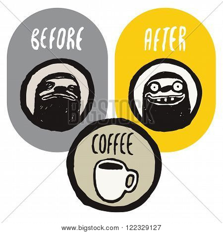 Before and after the coffee. Coffee funny hand drawn poster with sloths. Vector illustration.