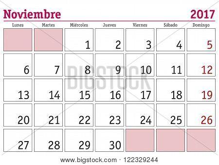 Noviembre 2017 Wall Calendar Spanish