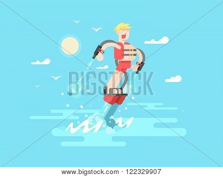 Man with flyboard. Water fly, vacation extreme, watersport and watercraft, waterjet recreation, vector illustration