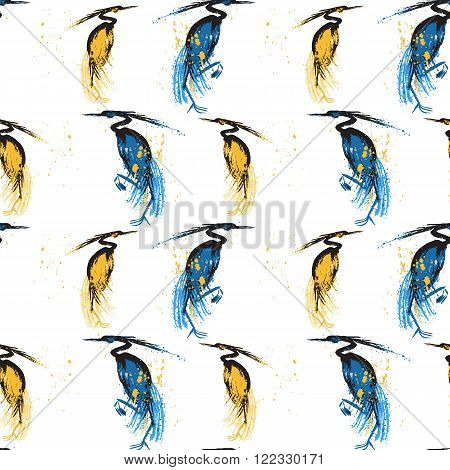 Seamless pattern with herons. White background. Stock vector illustration.